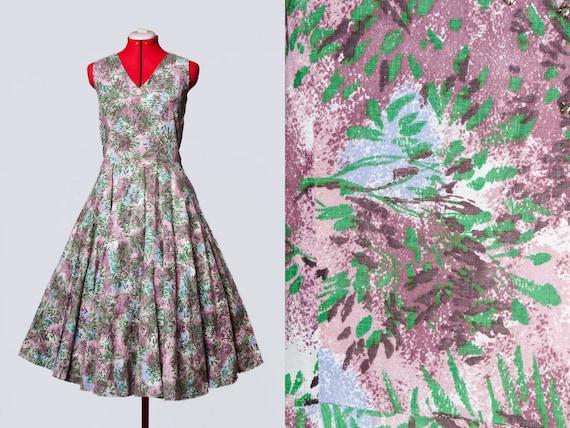 1950s novelty print cotton dress