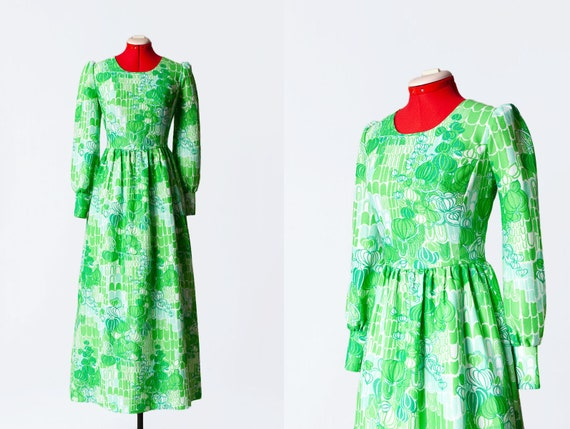 1960s green maxi babydoll dress