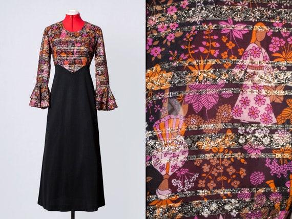 1960s fairytale novelty print dress