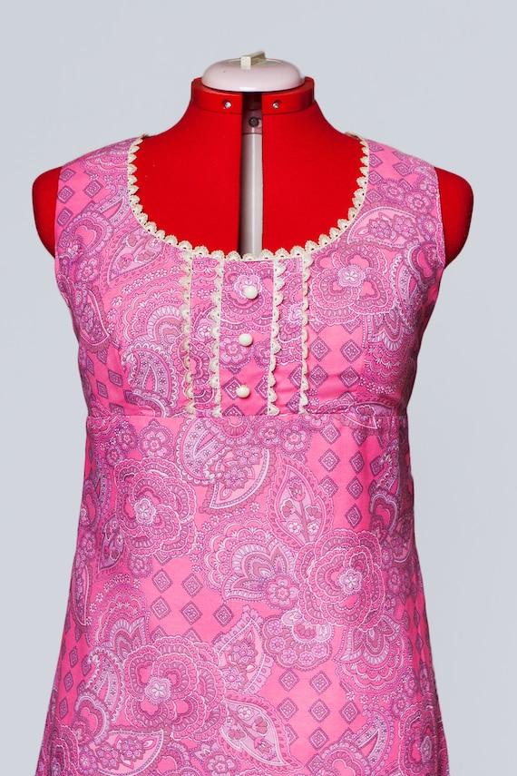 1960s paisley print maxi babydoll dress - image 6
