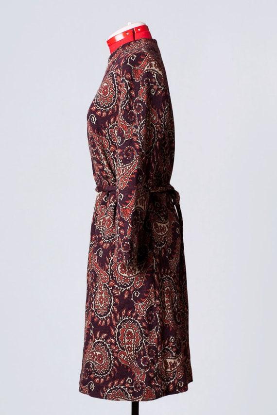 1960s paisley print wool dress - image 6