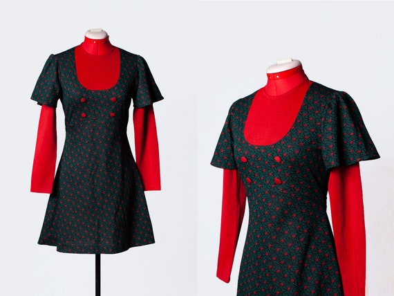 1960s knit mod dress - image 1