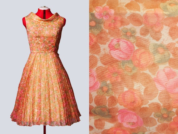 1950s floral chiffon party dress