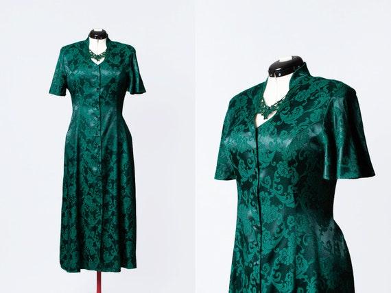 1990s green brocade dress