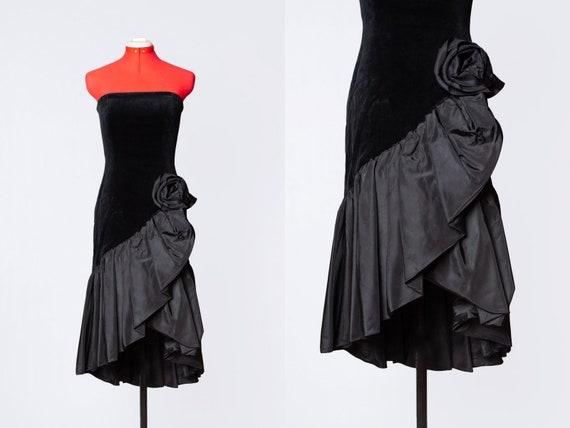1980s Travilla velvet and taffeta evening dress