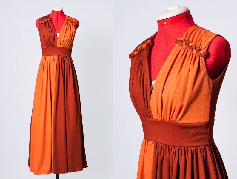1970s two tone Grecian style goddess gown image 0