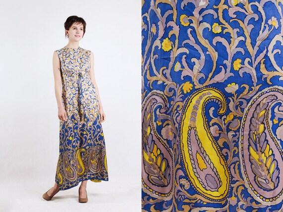 1960s paisley print silk maxi dress