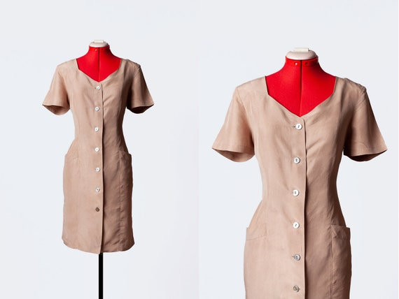 cocoa silk dress with pockets