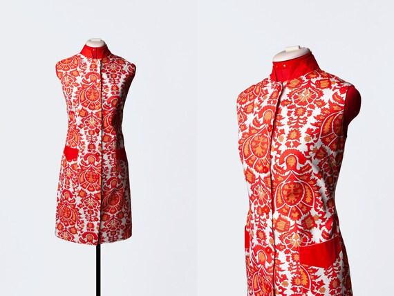 1960s batik print dress with pockets