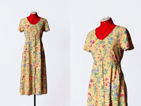 botanical print dress with pockets