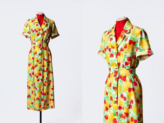 fruit print dress with collar