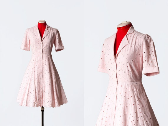 pink openwork dress with pockets
