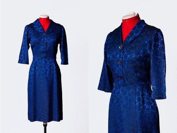 vintage 1950s silk brocade evening dress   Medium