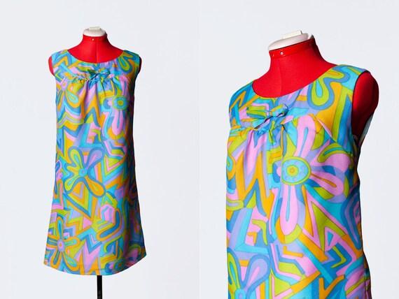 1960s colorful mod dress
