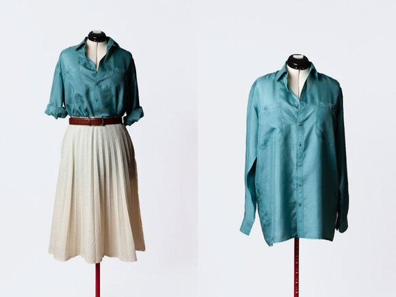 teal silk button up blouse