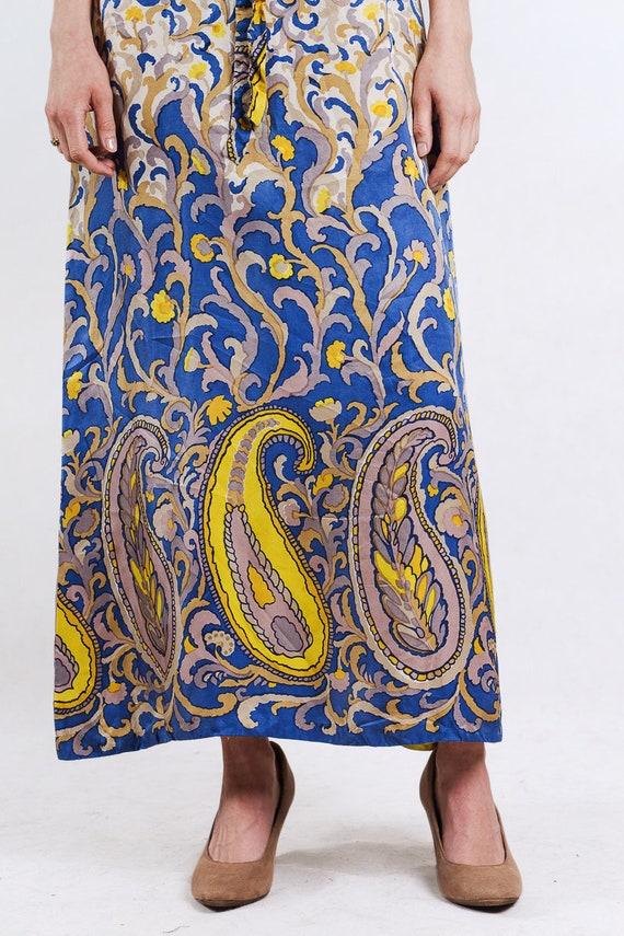 1960s paisley print silk maxi dress - image 8