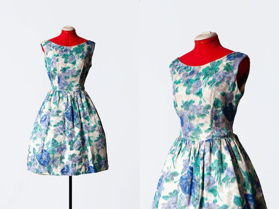 1960s brocade party dress