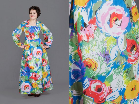 1970s floral chiffon dress