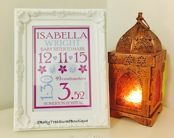 Personalised typographic baby birth details print frame