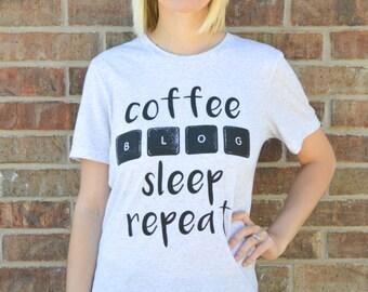Coffee, Blog, Sleep, Repeat Tee Shirt: White Fleck Triblend