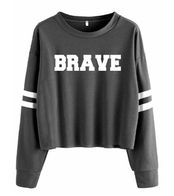 Brave Women's Unisex Crewneck Long Sleeve Athleisure and Workout Crop Shirt: Grey, White Stripes