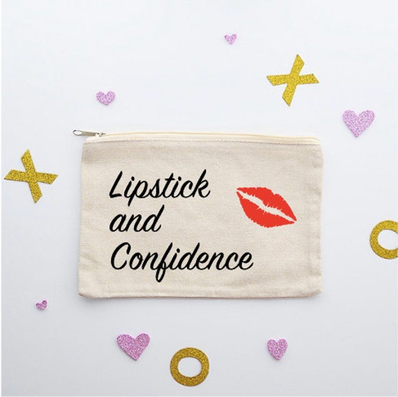 Canvas Cosmetic Bag: Lipstick and Confidence - Makeup Bag
