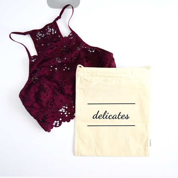 Delicates - Muslin Bag with Drawstring: Black Script Lettering