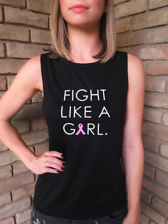 Fight Like A Girl - Pink Ribbon - Breast Cancer Awareness Tank