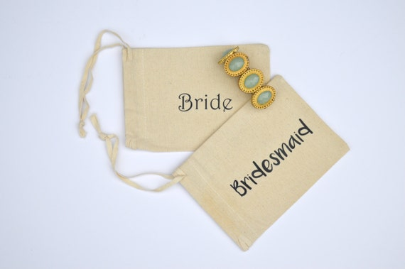 Personalized Canvas String Pouch for Bridal Party: Tan