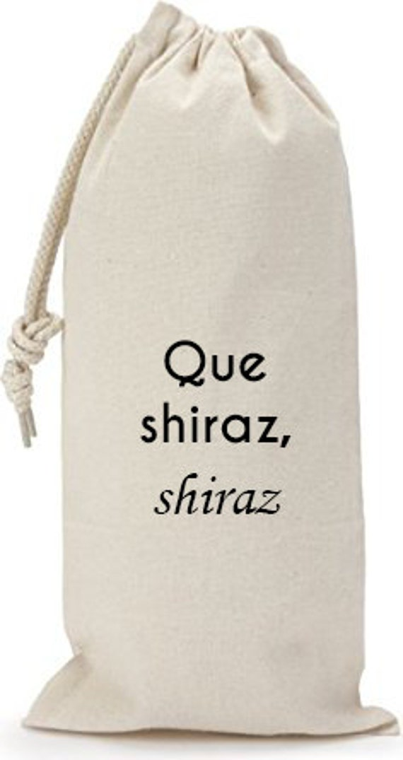 Que Shiraz, Shiraz - Canvas Drawstring Wine Bag