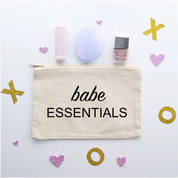 Canvas Cosmetic Bag: Babe Essentials - Makeup Bag