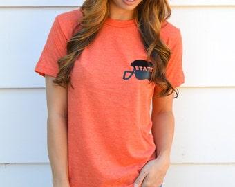 Gameday Football Helmet State Tee Shirt: Heather Orange