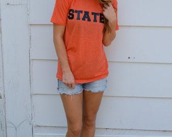 Gameday State Tee Shirt: Heather Orange and Black