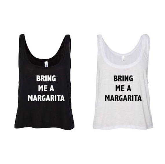 Bring Me A Margarita - Summer -  White  or Black Flowy Boxy Tank