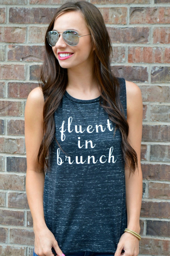 Fluent In Brunch Tank: Black Marble