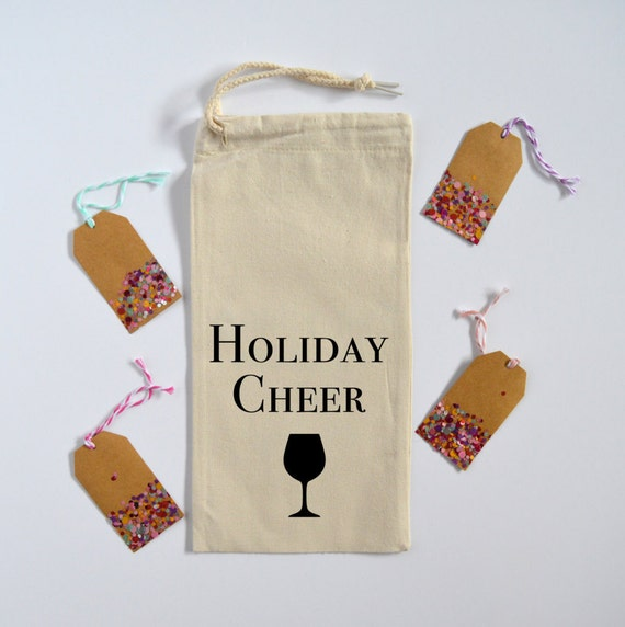 Holiday Cheer - Canvas Drawstring Wine Bag: Black Lettering