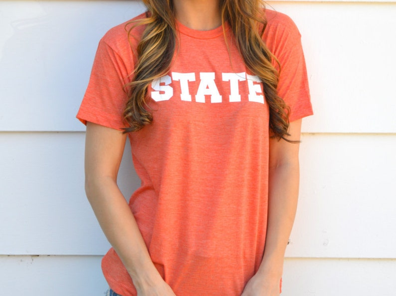 Gameday State Tee Shirt: Heather Orange and White image 0