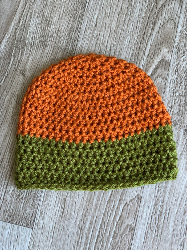 Unisex Baby Size Super Soft Premium Acrylic Rust and Olive Green Hand Crocheted Beanie Baby 6-12 Months Point Break 6-12 months