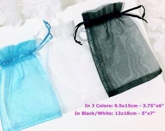 "1pc or BULKS 3.75X6"" 5x7""Organza Bag Blue White Black With Ribbon Tote  Fabric Drawable Wedding Gift Bag Pouches Bridal Candy Bag String"