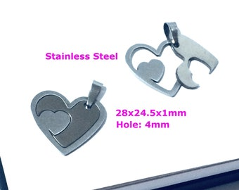 HEART Stainless Steel Charm Jewelry Findings Sterling Heart Pendant Jewelry Making Wholesale Silver Supply Musical DIY Do It Your