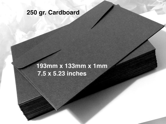 15 25 Bulk 5x7 Envelopes Black Shiny 250gr Cardboard Wedding Bridal Box Packaging Party Gift Favours Mailers Craft Invitation Business