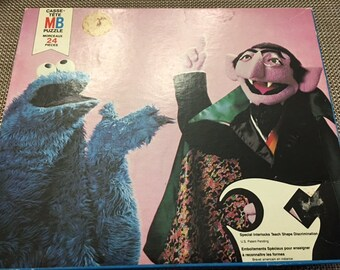 """Sesame Street Muppets Featuring Count and Cookie Monster 12 1/8 * 16"""" By Jim Henson for kids 3-6"""