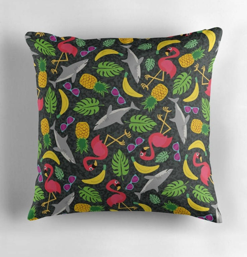 Tropical Throw Pillow 16 X 16, Flamingo Pineapple Shark, Colorful,  Decorative Pillow, Palm Leaves, Indoor Pillow, Banana Fruit Home Decor