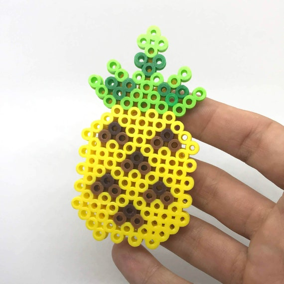 Pineapple Pin Perler Beads Button Pixel Art Tropical Fruit Bead And Felt Pin Melty Beads Cute Brooch Tropical Jewelry Plastic