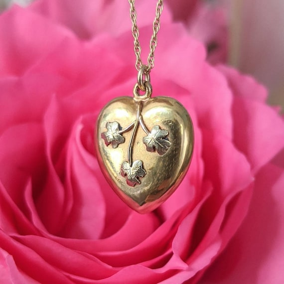 Antique 15ct Gold Heart Charm Puffy Heart Pendant