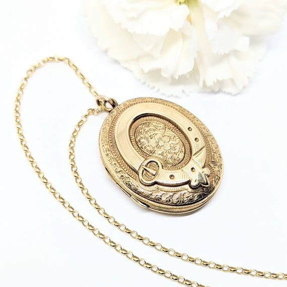 Antique Gold Back & Front Locket with Buckle - Ini