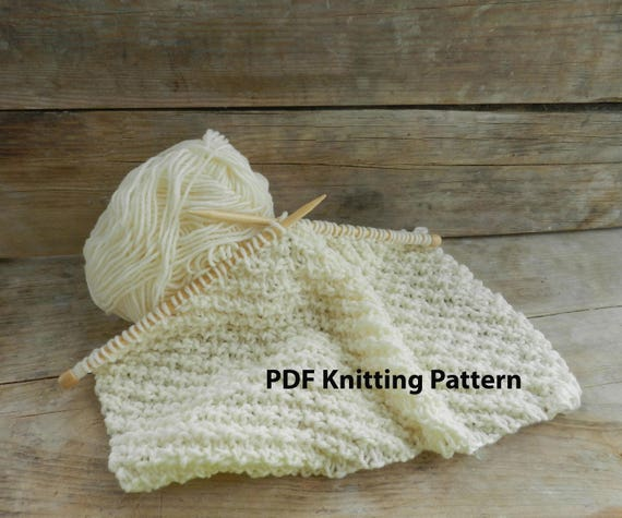 123 Pdf Knitting Pattern Easy Knit Blanket White Knit Baby Etsy