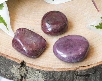 Ruby Pocket Stone - Palm Stone - Hand Stone Cabochon Natural Polished Crystal Gemstone Flat Disk Tumbled Healing Worry Rock Slab Thumb