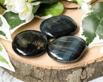 Hawk's Eye Blue Tiger's Eye Pocket Stone - Palm Stone - Hand Stone Cabochon Natural Polished Crystal Gemstone Tumbled Healing Gem Worry Rock