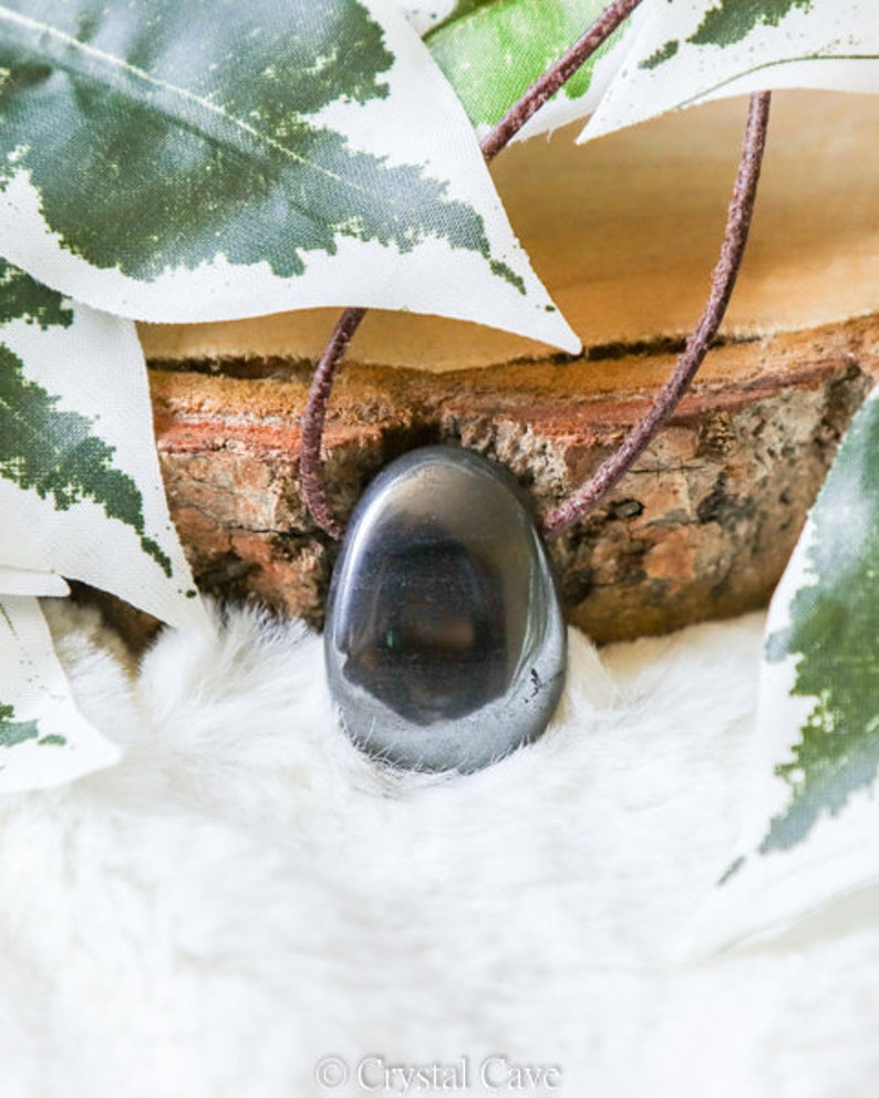 Hematite Polished Necklace Pendant Gemstone Grounding \u2022 Stability \u2022 Detox Drilled Stone Jewelery Oval Shape Rock Bead Healing